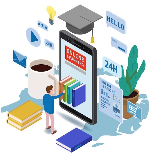 Состав значков онлайн образования равновеликий установленный при маленький человек принимая книги от smartphone Premium векторы