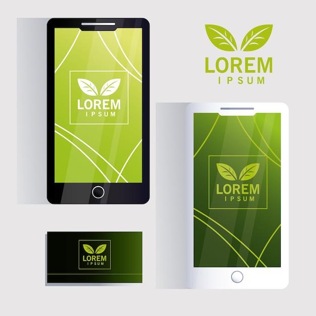 スマートフォンとアイデンティティブランドイラストデザインの名刺 Premiumベクター