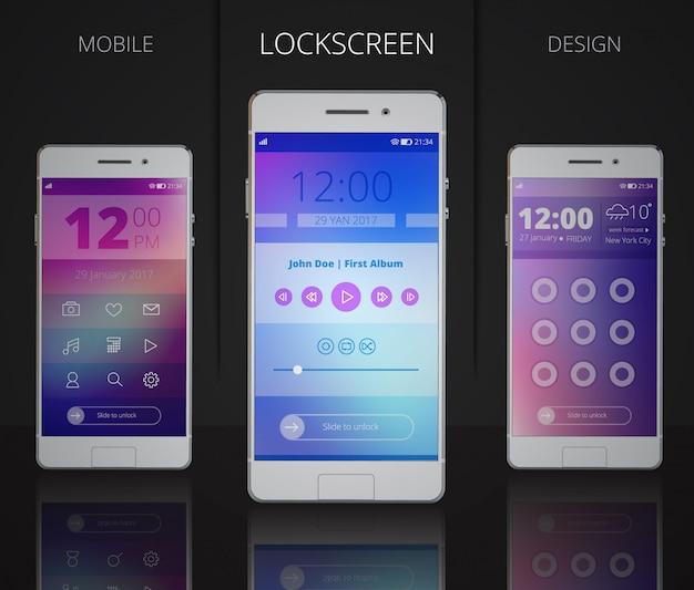 Smartphones lock screen designs Free Vector
