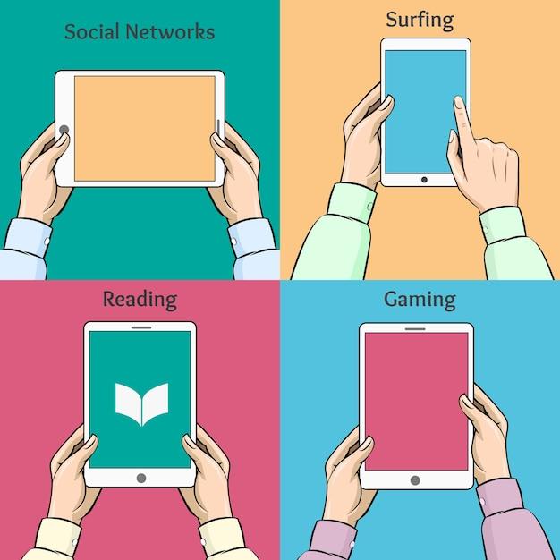 손에 스마트 폰, 태블릿 및 전자 책. 소셜 네트워크, 서핑 및 게임. 무료 벡터
