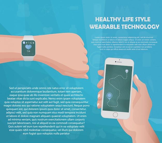 Smartwatch fitness tracker concept Premium Vector