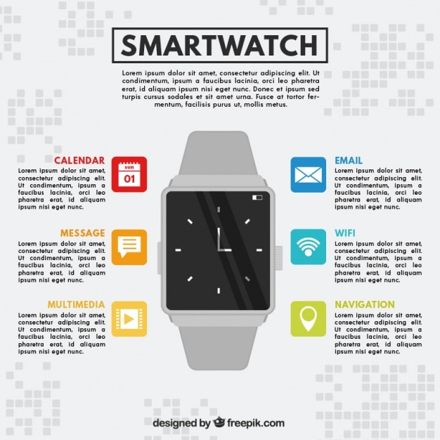Smartwatch on gray background Free Vector