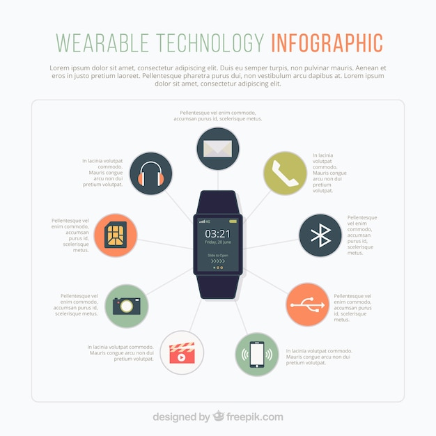 Smartwatch infographic template with icons Free Vector
