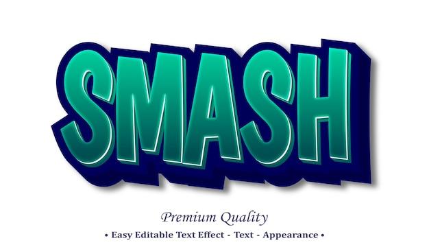 Smash 3d editable text style effect Premium Vector