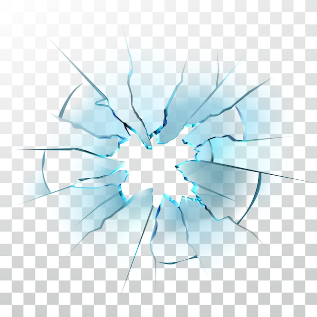 Smashed glass window broken bullet hole Premium Vector