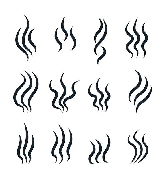 Smell icons. flowing heat, cooking steam warm aroma smells stinks mark, steaming vapour odour vector isolated line symbols Premium Vector