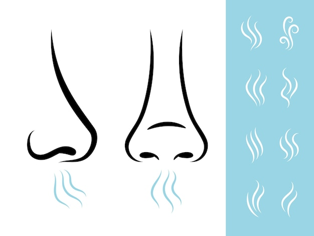 Smell icons with human nose and air. breathing and aroma icons set Premium Vector