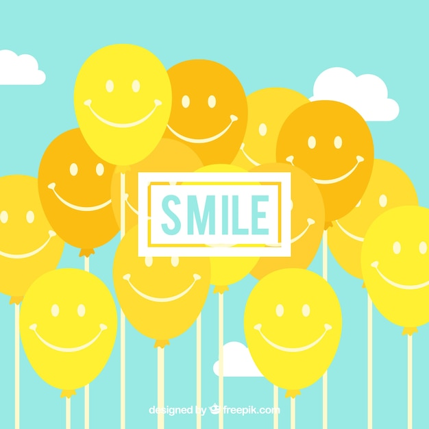 Smile balloons background Free Vector