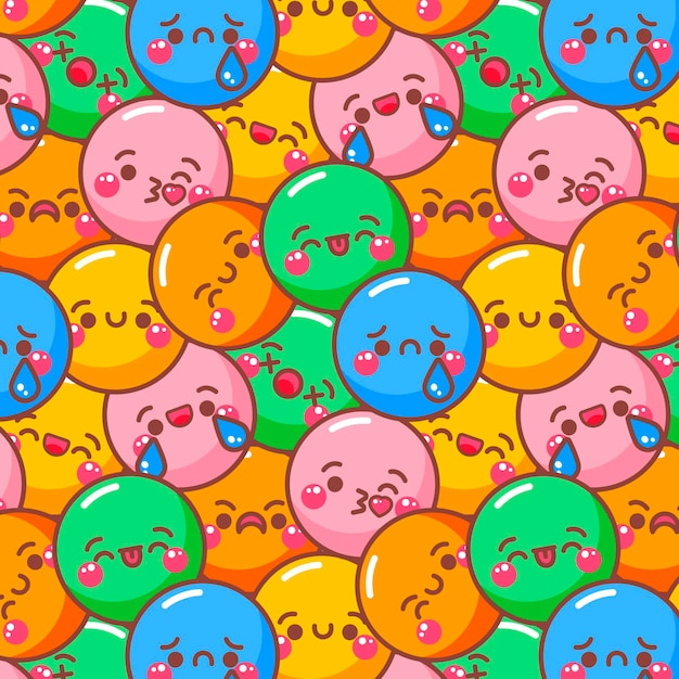 Smile emoticons colorful pattern Free Vector