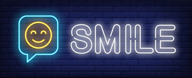 Smile neon sign Free Vector
