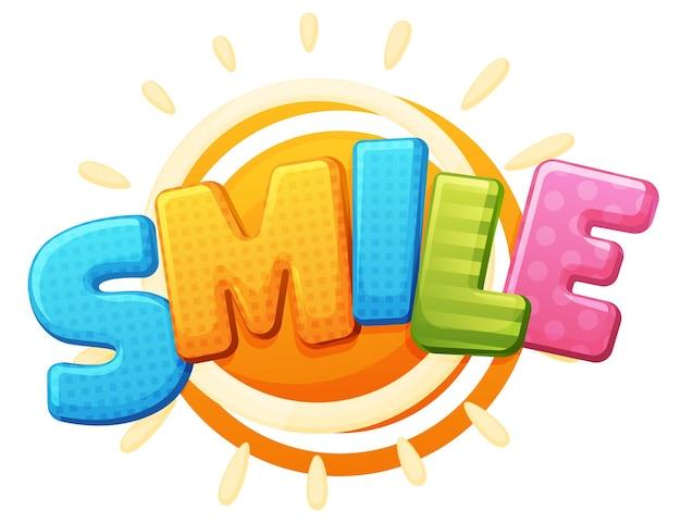 笑顔のサイン。色の碑文のロゴ、ゲームエリア、バブルレインボー文字。明るい、白い背景の碑文 Premiumベクター