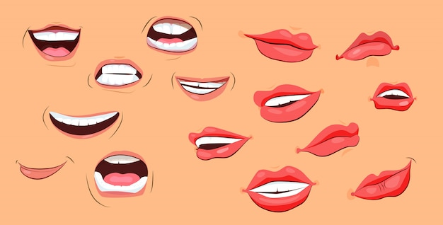 Smiles and lips icons set Free Vector
