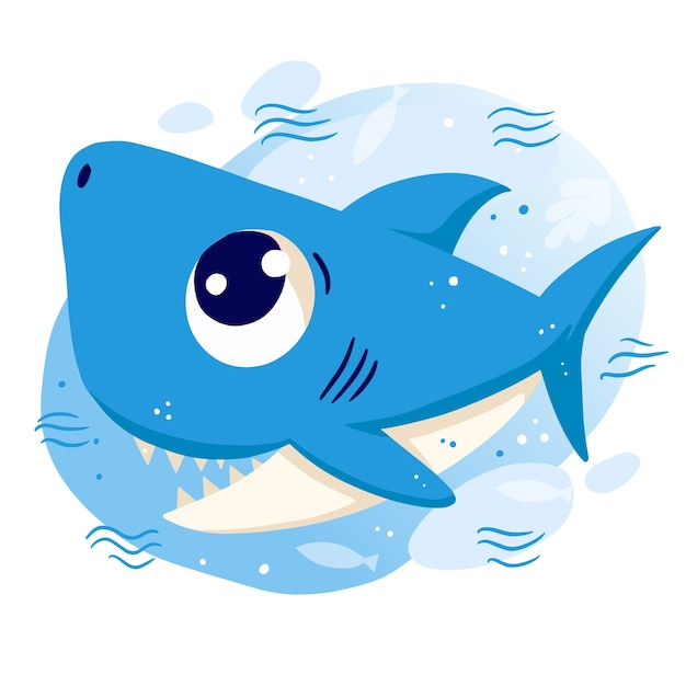 Smiley baby shark with blue eyes Free Vector