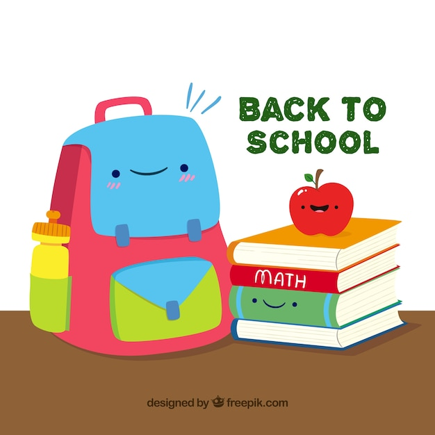 Smiley backpack, apple and book with flat design
