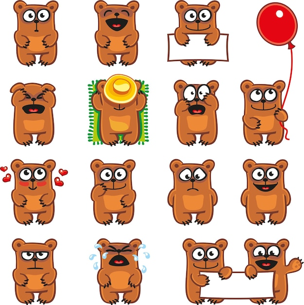Smiley bears individually grouped for easy copy-n-paste. Premium Vector