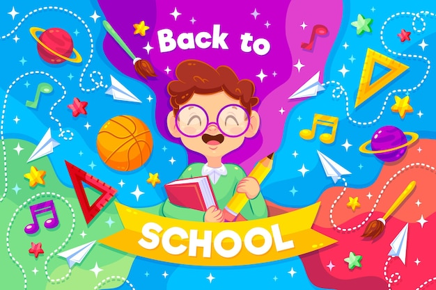 Smiley boy illustrated with back to school message Free Vector