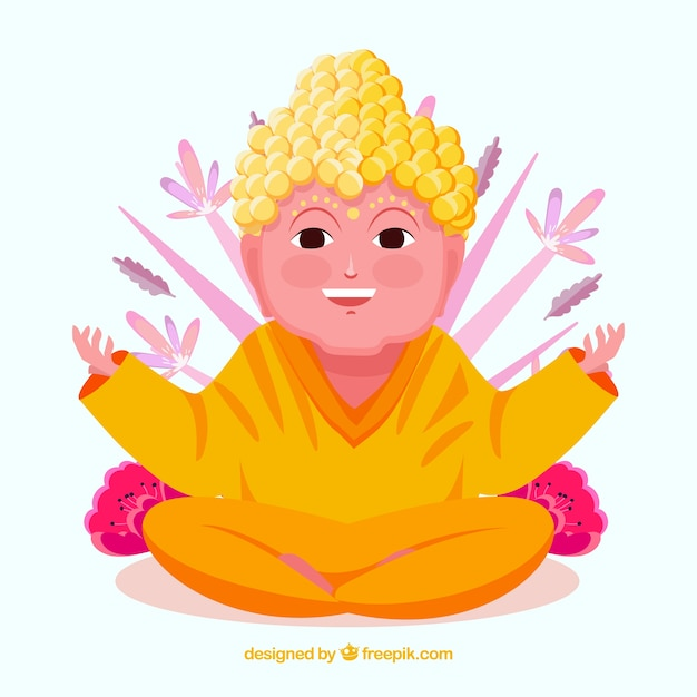 Smiley budha with flat design