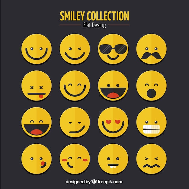 Smiley Collection In Flat Design Vector Free Download