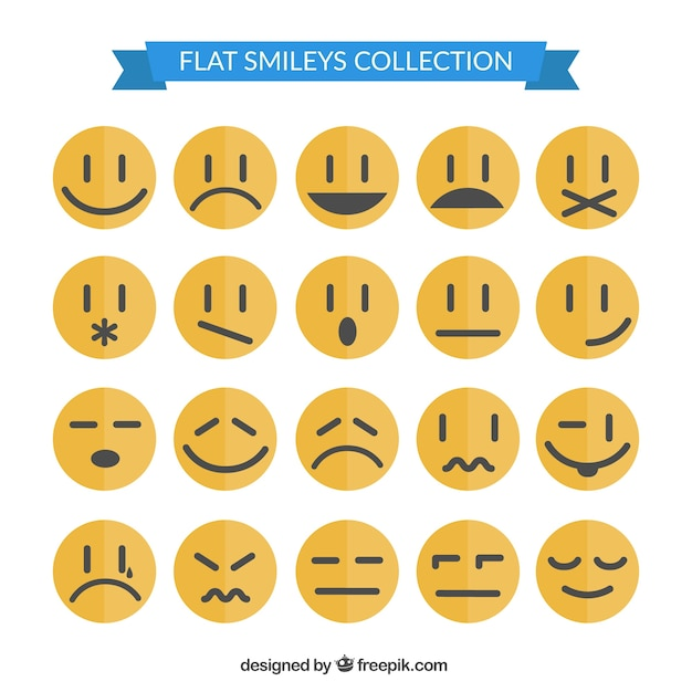 Smiley collection in flat style