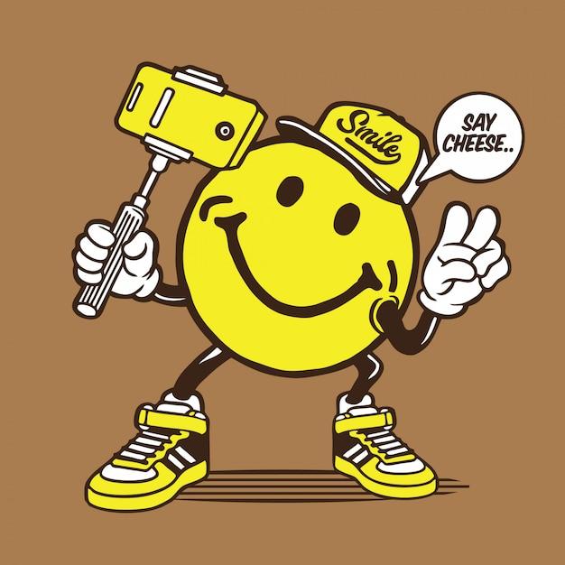 Smiley face selfie character Premium Vector
