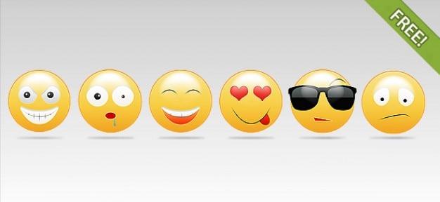 Smiley faces Free Vector