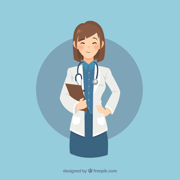 Smiley female doctor with clipboard and\ stethoscope