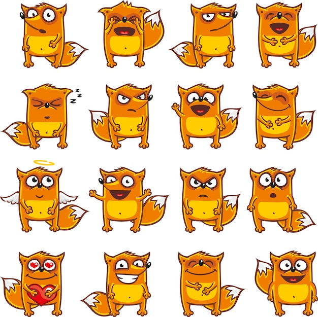 Premium Vector | Smiley foxes individually grouped for
