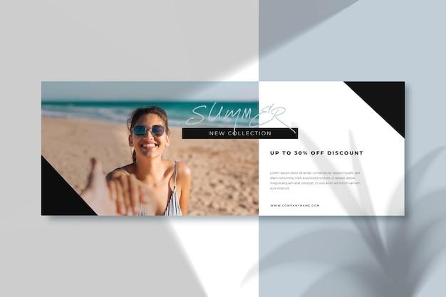Smiley girl of the beach facebook cover template Premium Vector