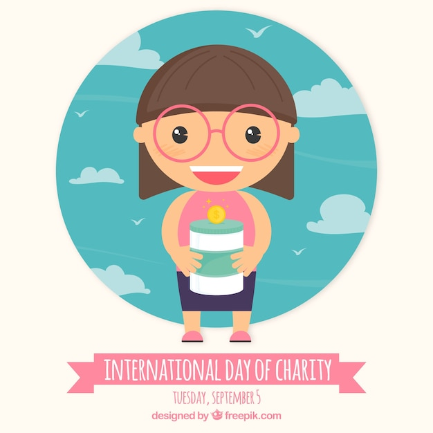 smiley girl collecting money on day charity vector free download