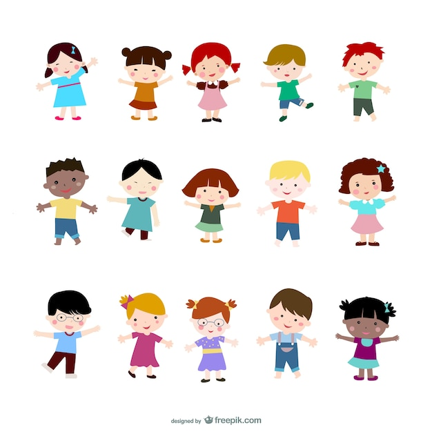 smiley kids stand up Free Vector