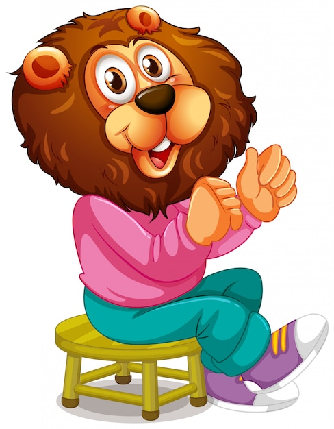 Smiley lion cartoon character Free Vector