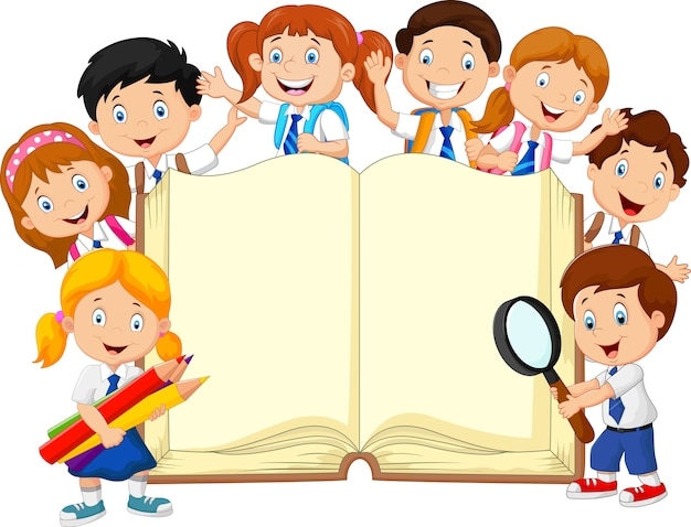 Smiley little kids holding book on isolated background Premium Vector