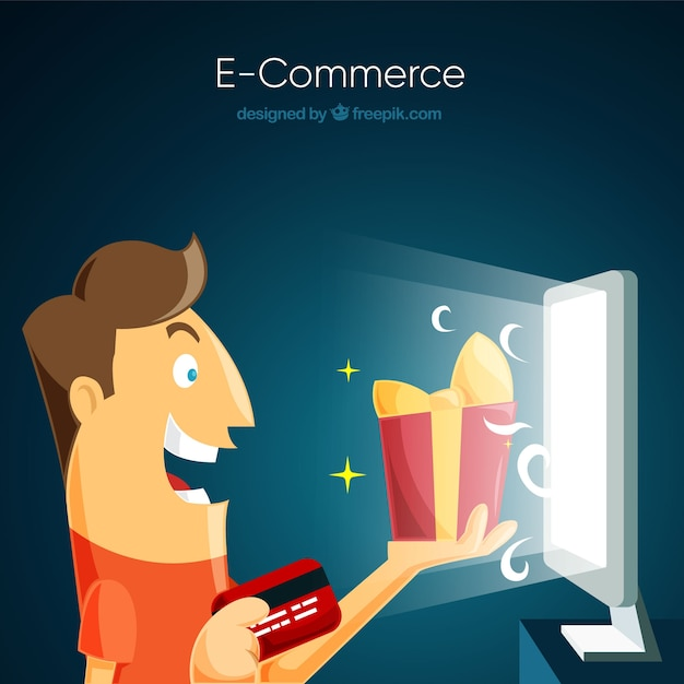 Smiley man buying a gift on the internet Free Vector
