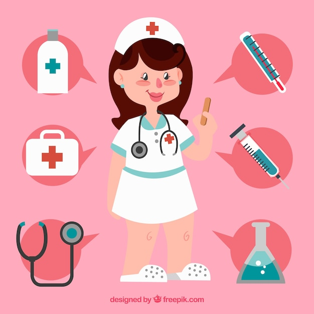 Smiley nurse and medical tools with flat design Vector