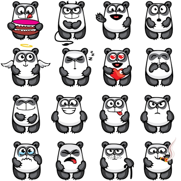 Smiley pandas individually grouped for easy copy-n-paste. Premium Vector