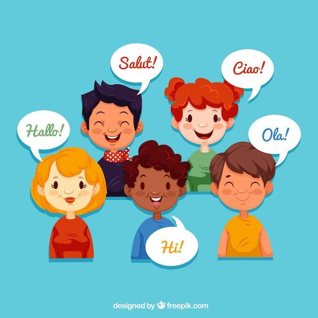 Smiley people speaking different languages with flat design Free Vector