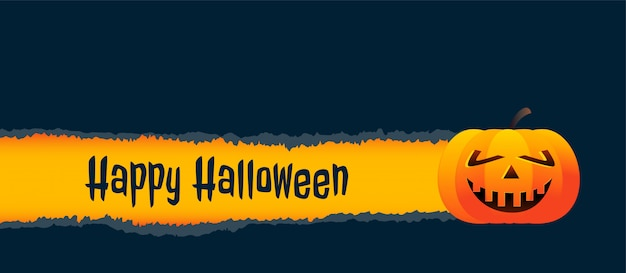 Smiley pumpkin halloween banner background Free Vector