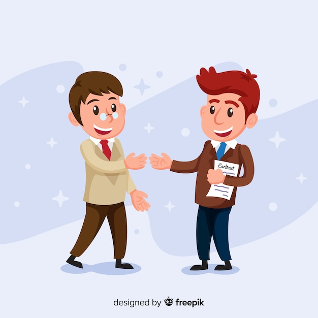 Smiley salesman character holding contract Free Vector