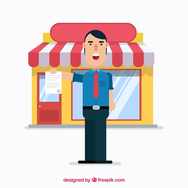 Smiley salesman with flat design Free Vector