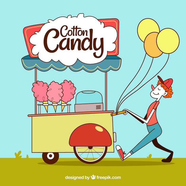 Smiley seller with candy cotton cart and balloons