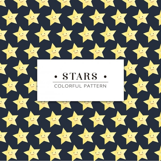 Smiley stars pattern Free Vector