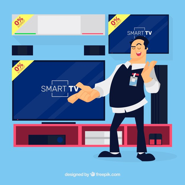 Smiley technology salesman with flat design Free Vector