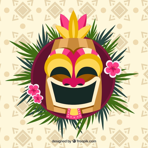 Smiley tiki mask with palm leaves and flowers