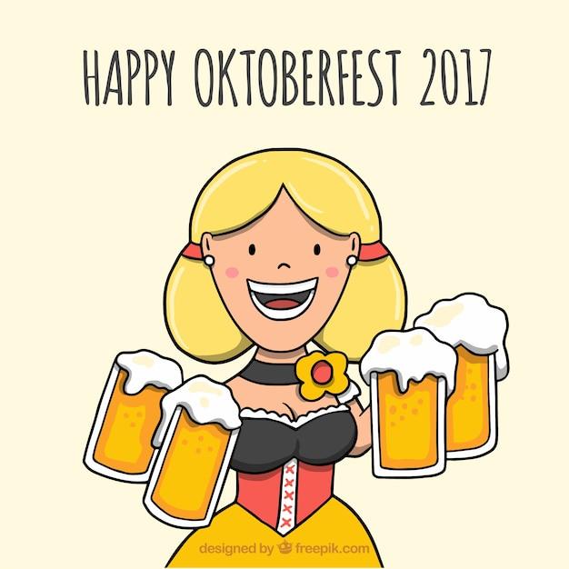 Smiley woman carying beer mugs in oktoberfest Free Vector