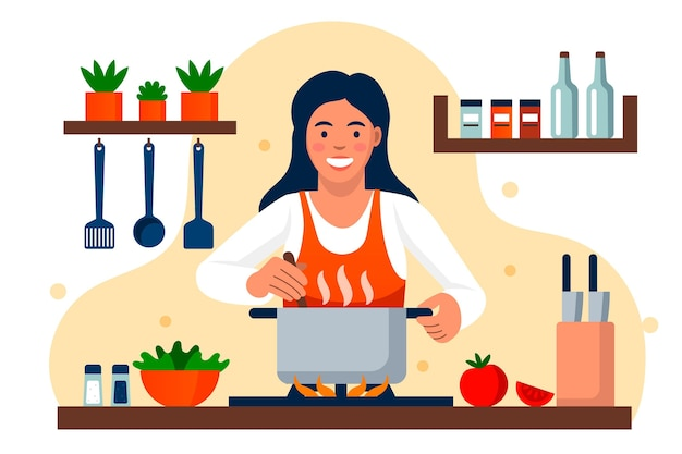 Smiley woman cooking in the kitchen Free Vector