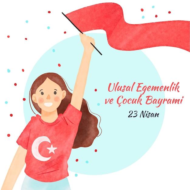Смайлик женщина, держащая национальный суверенитет красный флаг Бесплатные векторы