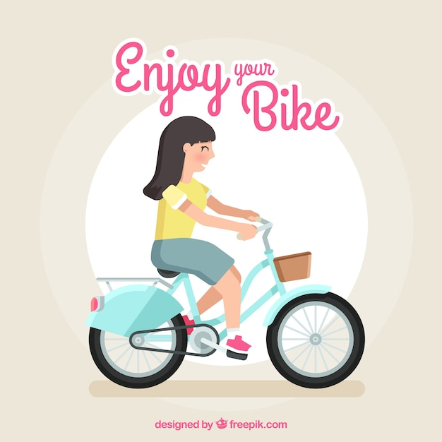 Smiley woman riding bike with flat design