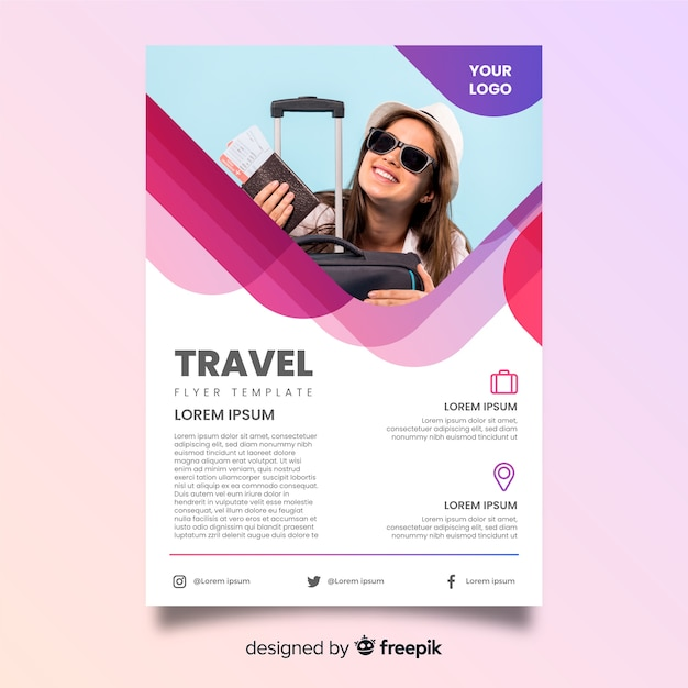 Smiley woman with luggage travel poster Free Vector