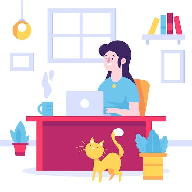 Смайлик женщина работает из дома и кошка Бесплатные векторы