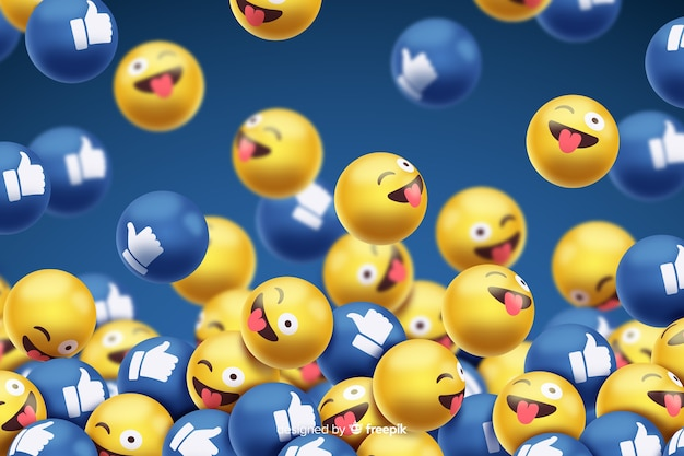 Smileys with facebook likes background Free Vector